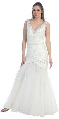 Long Formal Off White Prom Dress Mermaid V-Neck Flare Satin Chiffon