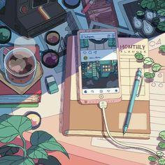 Anime Scenery Wallpaper, Cute Anime Wallpaper, Cartoon Wallpaper, Iphone Wallpaper, Aesthetic Words, Aesthetic Pictures, Aesthetic Anime, Aesthetic Clothes, Blue Aesthetic