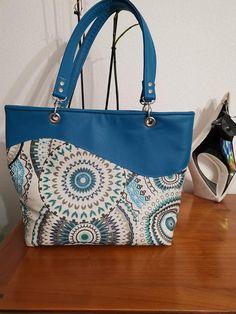 Sac Samba mandala bleu cousu par Marie-Odile - Patron sac cabas Sacôtin