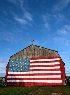 Flag painted barn - Tumblr - sitonmyfrontporch - Burlap and Hay