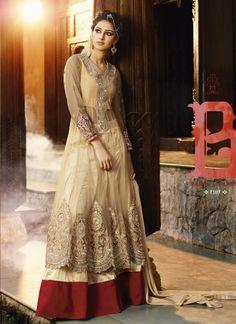 Alluring Cream Net Latest Designer Wedding Wear Salwar Suit