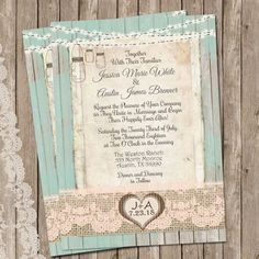 Mint and Peach, Burlap and Lace Wedding Invitation, Rustic, Wood fence,  Printable, Digital File, Personalized, 5x7,
