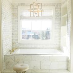 "Emily Jackson // Ivory Lane on Instagram: ""Bath time...  I can't wait to get all the final touches and styling done in this room! #masterbathroom #marble #interiordesign"""