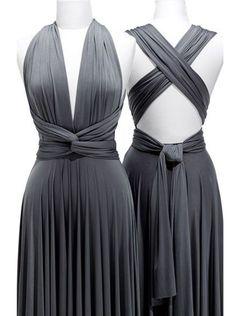 Hot Selling Sheath V-Neck Floor-length Grey Bridesmaid Dress With Ruffles