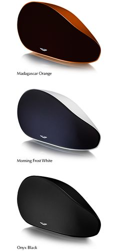Aston Martin Zygote - a luxurious wireless audio system for your home. Comes in three different colour variations: - The Madagascar Orange cabinet with a Sublte Brown front grill - The Morning Frost White cabinet with an Ocean Blue front grill - The Onyx Black cabinet with a Gun Metal Grey front grill