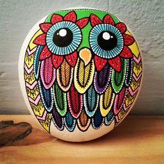 #Pierre peinte hibou - #owl