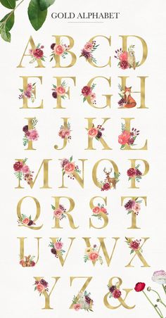 Design Alphabet, Hand Lettering Alphabet, Flower Letters, Monogram Letters, Flower Alphabet, Flower Logo, Flower Art, Creation Bougie, Wedding Logo Design