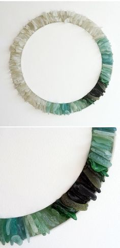 Glass Project You Can Make at Home Sea glass imbedded in wood. Love the graduated color.Sea glass imbedded in wood. Love the graduated color. Sea Glass Crafts, Sea Glass Art, Fused Glass, Sea Glass Display, Stained Glass, Sea Glass Mosaic, Glass Beach, Blown Glass, Do It Yourself Inspiration