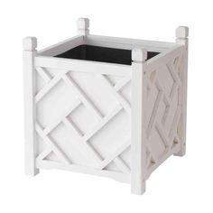 DMC 18 in. Square White Chippendale Planter-70210 at The Home Depot