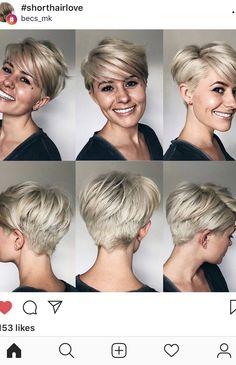 The Short Pixie Cut - 20 Great Haircuts You'll See for 2019 - Cute Cut - Frisuren Short Pixie Haircuts, Short Hair Cuts, Trendy Womens Haircuts, Thick Hair Pixie, Blonde Pixie Haircut, Blonde Pixie Cuts, Great Haircuts, Cute Cuts, Cute Pixie Cuts