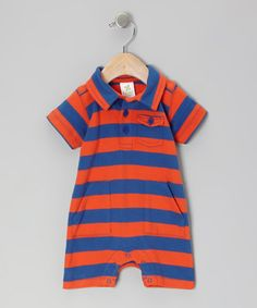 Take a look at this Tangerine & Navy Stripe Organic Polo Romper - Infant by Nosilla Organics on #zulily today!