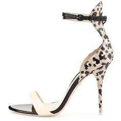 Sophia Webster Nicole Sketch Camo Sandal (3.360.435 IDR) ❤ liked on Polyvore featuring shoes, sandals, heels, leather sandals, high heel sandals, ankle wrap sandals, leather ankle strap sandals and strappy high heel sandals