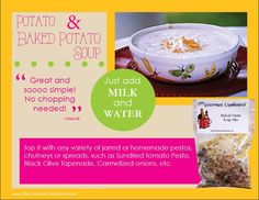 Just add milk and water for this delicious potato or baked potato soup!