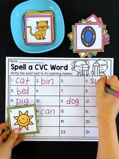 This CVC center has students chose a picture card and spell the CVC word. a great minimal prep literacy center for short vowel words. michael kors blue michael kors louis vuitton michael kors tote michael kors brown michael kors what i want E Learning, Kindergarten Learning, Teaching Phonics, Preschool Learning Activities, Teaching Reading, Teaching Kids, Vocabulary Activities, Kindergarten Literacy Stations, Literacy Games
