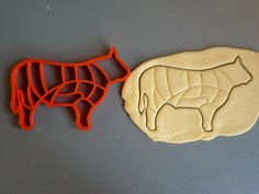 Beef cuts cookie cutter, cuts like the butcher does, 3D printed via Etsy