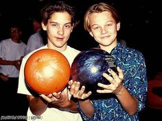 Tobey Maguire and Leonardo DiCaprio bowling, 1989.