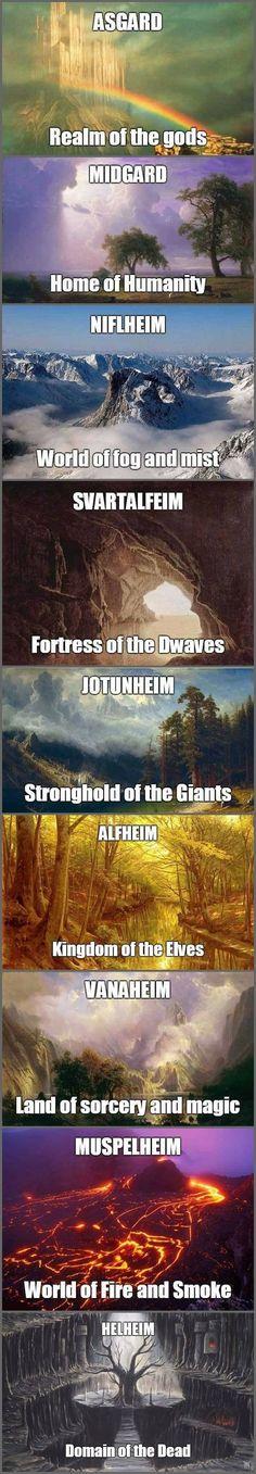 Nine Realms in Norse Mythology - useful for keeping Marvel stuff straight, too. Marvel Avengers, Marvel Comics, Fenrir Tattoo, Religion, Dc Memes, Gods And Goddesses, Geek Culture, Pop Culture, Marvel Cinematic Universe