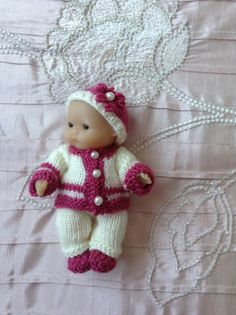 Hand knitted dolls clothes for 5Berenguer Itty by HandKnittedbyme