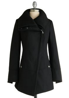 Diagonal Alley Coat by Steve Madden - Black, Solid, Long Sleeve, Casual, Military, Fall, Winter, Long, Exclusives