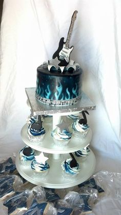 Guitar Rock Star Baby Shower - by CharismaticCakes @ CakesDecor.com - cake decorating website