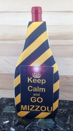Wine Koozie, Keep Calm and GO MIZZOU by WhatsInANameCustomAr on Etsy