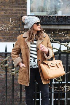 Sheepskin Jacket Outfit + Breton Top   The Elgin Avenue Blog   Monica Beatrice Welburn
