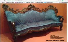 Blue sofa in Flannery's room (fictional character) in F.S. Hotel, San Francisco