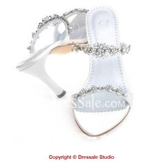 White Impressive Stiletto Heel Pumps with Exquisite Decoration Wedding Sandals