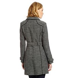 7aa08fd0bab Guess Double-Breasted Tweed Trench Coat - Dillard s