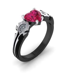 Steampunk World Of Warcraft Ring, WOW Ring, Horde Engagement Ring, Horde My Love Gamer Ring, Heart Shaped Ruby Gamer Ring, For The Horde!