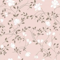 Papel de parede floral delicadas flores e ramos em cores rosa e branco - PA8791