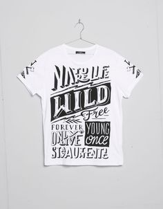 Old school type text print T-shirt - Man - Bershka United Kingdom