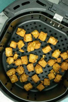 Easy, flavorful air fryer tofu is perfectly crispy, just like deep fried, without cups and cups of oil. Serve it up with rice or noodles or on your dinner salad!  #airfryertofu #vegan #easy #videos #airfryer Tofu Recipes, Vegan Breakfast Recipes, Delicious Vegan Recipes, Sauce Recipes, Dog Food Recipes, Easy Sauce Recipe, Air Fryer Recipes Snacks, Salad Toppings, Marinated Tofu