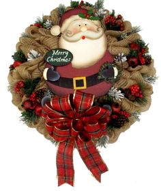 Santa Burlap Deco Mesh Wreath designed by Karen B., A.C. Moore Erie, PA #christmas #wreath #decomesh