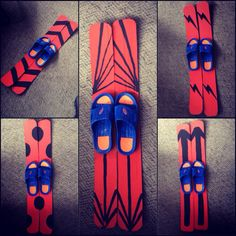 DIY indoor skis for our Office Olympics. Made with dollar store sandals, cardboard boxes, paint and a glue gun