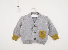 SALE / 12-18 M // Hand Knit Baby Cardigan Sweater / Grey and Mustard Yellow Cardigan/ Knitted Baby Sweaters / Baby Knitwear
