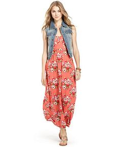 American Rag Juniors Dress, Sleeveless Crisscross Floral-Print Maxi - Juniors Dresses - Macy's