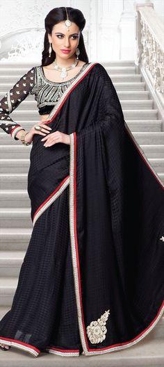 133723, Party Wear Sarees, Satin, Machine Embroidery, Gota Patti, Resham, Patch, Zari, Thread, Black and Grey Color Family  #black #saree #blouse #designer #sale #onlineshopping #Partywear #festivewear #Diwali