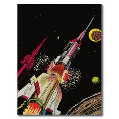 Outer Space Rockets - Retro Sci-Fi Art Post Card from Zazzle.