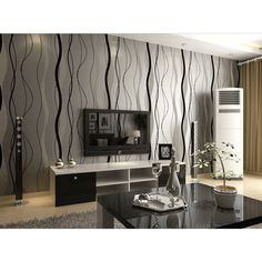 Accent Wall With Black Waves Stripe Modern Minimalist Wavy Stripes Cloth with Soft Nap Nonwovens Long Murals Vinyl Wall Paper Wallpaper Home Decor High-grade Non-woven Flocking Simple Curve Style Wallpaper Roll Black&gray Color Suit for: Living room, Bedding room, Study, Kids' room, TV...