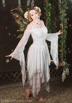 Fairy Medieval Fantasy Shorter Wedding Dress by RomanticThreads, $465.00