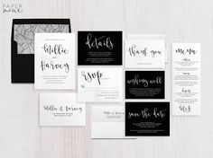 Wedding Invitation Suite | Calligraphy Invitation | Black and White Invitation | Modern Wedding Invitation | Printed Wedding Suite | Millie