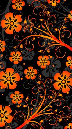 Orange Abstract Flowers 640 x 1136 Wallpapers available for free download.