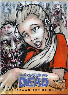 """""""Andrea and a walker"""" The Walking Dead comic book 2 trading card set sketch card."""