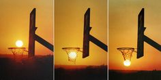 Sun going through basketball hoop