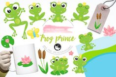 Frog prince illustration pack by Prettygrafik Design on @creativemarket
