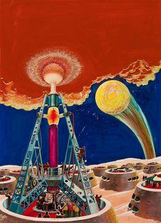 Frank R. Paul (1884–1963) - The 35th Millennium, Wonder Stories cover, August 1931