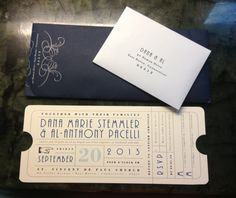 Wedding invitation. Looks like an old train ticket to match my vintage travel wedding theme. The back of the RSVP card has a madlib