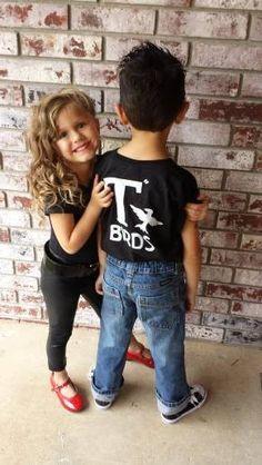 T Birds black child boys shirt Greaser Shirt tee Tshirt black lightning rocker 1950s 50s movie XXS XS S M L XL sock hop white dance music