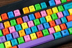 DIY colorful computer keyboard - So cheerful! Love the colors.